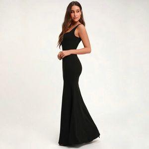 NWT Lulu's Sweetest Thing Black Maxi Dress Gown L